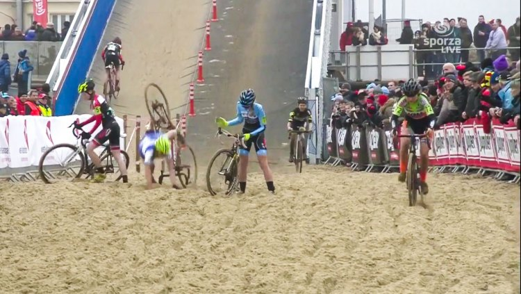 The giant flyover bridge dumped racers into this sand pit at high speed, and for some, the results were unpleasant to say the least.