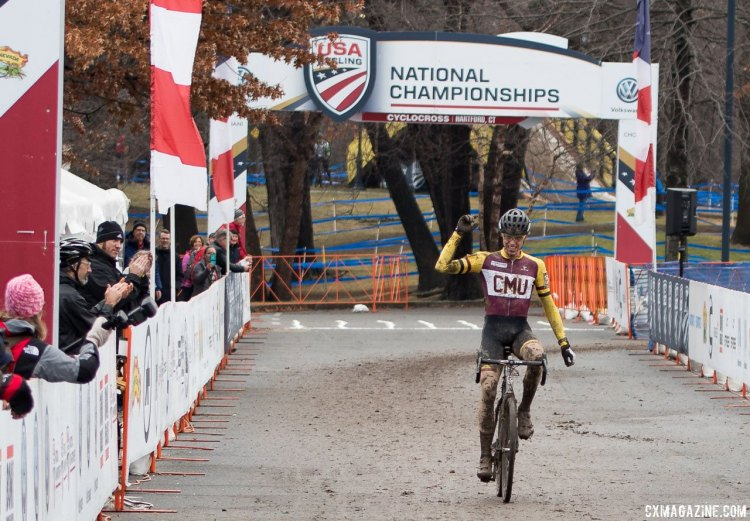 Brannan fix crosses the finish line in victory. 2017 Cyclocross Nationals, Varsity Collegiate Men. © A. Yee / Cyclocross Magazine