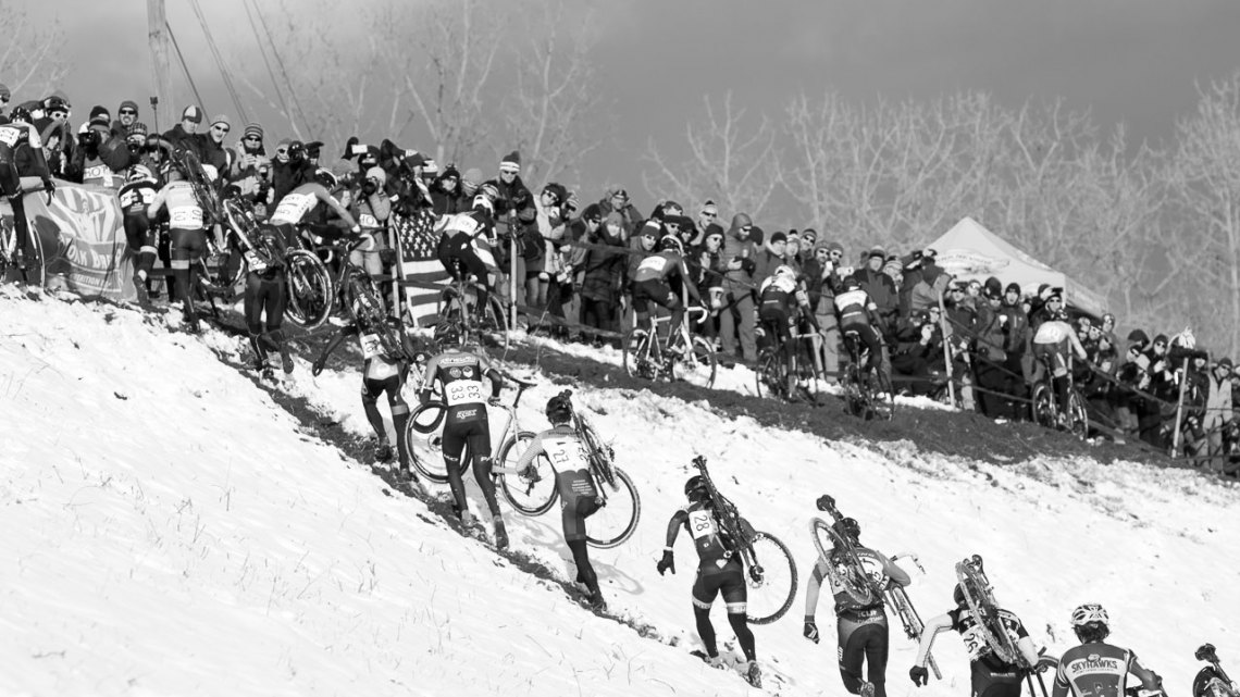 The climb up the run-up proved to be the racer's first geometry and running test. Riding the low line initially proved faster but conditions changed, making it harder to ride. 2017 Cyclocross National Championships, Elite Men. © A. Yee / Cyclocross Magazine