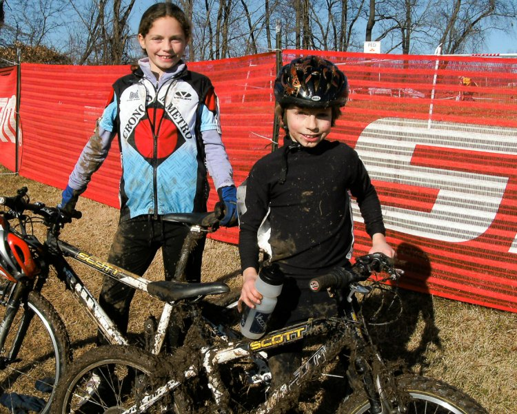 Emma and Caleb Swartz braved the mud of cyclocross at an early age and soon were racing people twice their age. photo: courtesy