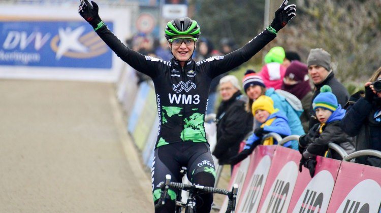 Marianne Vos kicked off 2017 with a perfect winning record for her new WM3 Energie Pro Cycling team. 2017 GP Sven Nys - Baal. © C. Jobb / Cyclocross Magazine