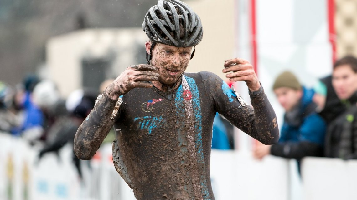 Jack Kisseberth attempts to regain feeling in his hands after a strong ride to finish second in the D2 Collegiate 2015 Cyclocross National Championships. © Cyclocross Magazine