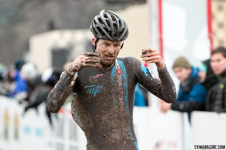 Jack Kisseberth attempts to regain feeling in his hands after a strong ride to finish second in the D2 Collegiate 2015 Cyclocross National Championships. © A. Yee / Cyclocross Magazine