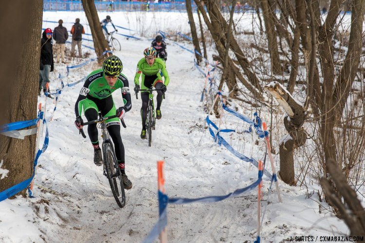 Gage Hecht leading Curtis White. 2017 Cyclocross National Championships. Sunday, U23 Men, Elite Women, Elite Men. © J. Curtes / Cyclocross Magazine