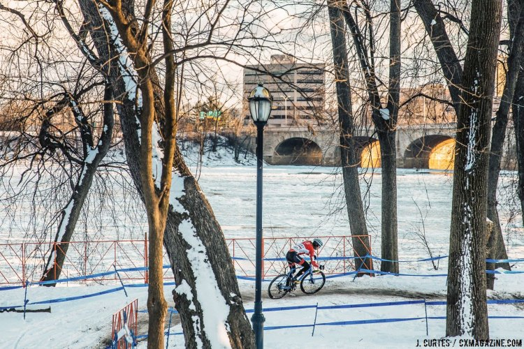 Over the course of the week, the river and course went from free-flowing to iced over, but Driscoll was still flowing by the end of Sunday. 2017 Cyclocross National Championships. Sunday, U23 Men, Elite Women, Elite Men. © J. Curtes / Cyclocross Magazine