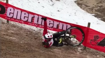 Jeremy Martin experiences the slip 'n slide at the 2017 Cyclocross World Championships in pre-ride.