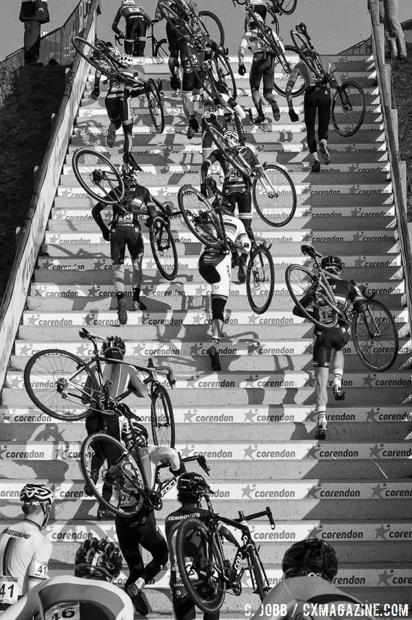 The Junior men tackle the infamous Stairway to Heaven. 2017 Hoogerheide UCI Cyclocross World Cup. © C. Jobb / Cyclocross Magazine