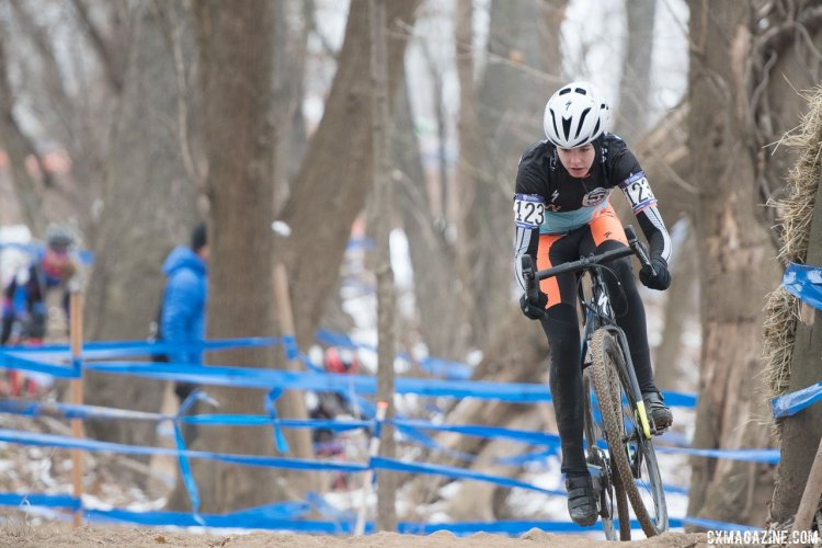 McKenna McKee had a strong race and would finish in third. 2017 Cyclocross National Championships, Junior Women 13-14. © A. Yee / Cyclocross Magazine