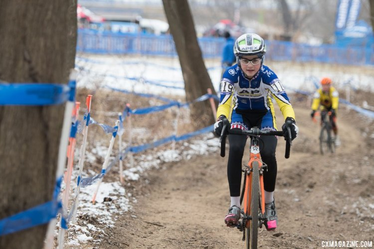 Lizzy Gunsalus on her way to winning the National Championship. 2017 Cyclocross National Championships, Junior Women 13-14. © A. Yee / Cyclocross Magazine