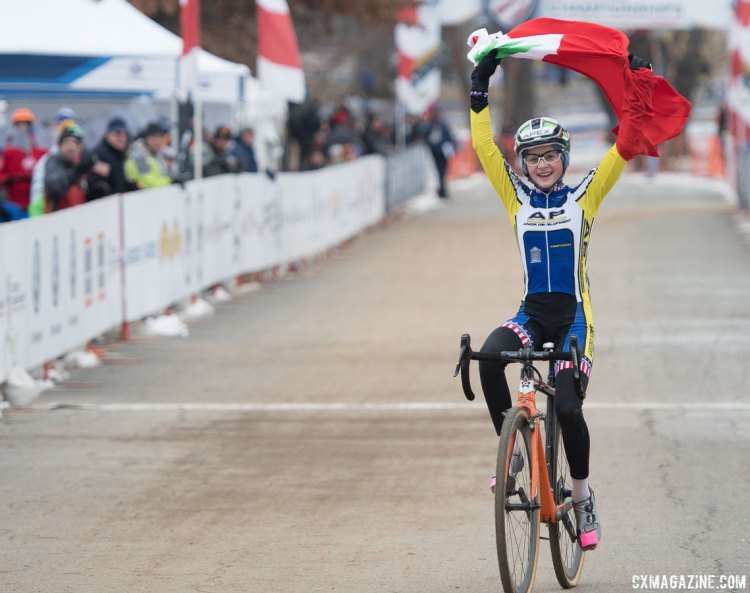 Lizzy Gunsalus with minor technical difficulties with her finish line celebration. 2017 Cyclocross National Championships, Junior Women 13-14. © A. Yee / Cyclocross Magazine