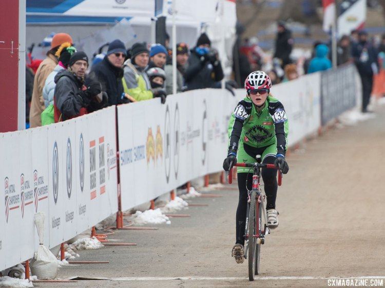 Lauren Zoerner (Alpha Bicycle Co.- Vista Subaru) finished 18 seconds back from the leader at the finish for the silver medal. 2017 Cyclocross National Championships, Junior Women 13-14. © A. Yee / Cyclocross Magazine