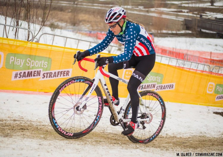 Katie Compton inspects the 2017 Worlds Course, searching for advantageous lines to use in her quest to take the top step at Worlds. © M. Hilger / Cyclocross Magazine.