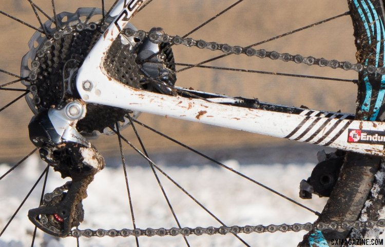 Compton uses a KMC X11 SL chain and a close ratio cassette for race conditions like Riverside Park in Hartford, CT. Katie Compton's 13th National Championships-Winning 2017 Trek Boone cyclocross bike. © Cyclocross Magazine