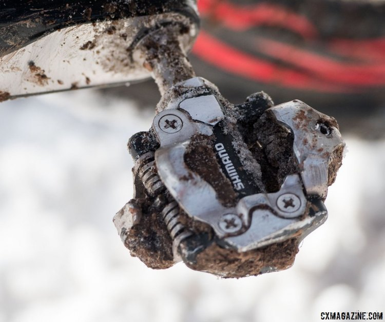Nothing fancy about the older generation Shimano XT M780 SPD pedals that Compton prefers. Their reputation is longstanding and well known, even though new M8000 model has been released with more surface area. Katie Compton's 13th National Championships-Winning 2017 Trek Boone cyclocross bike. © Cyclocross Magazine