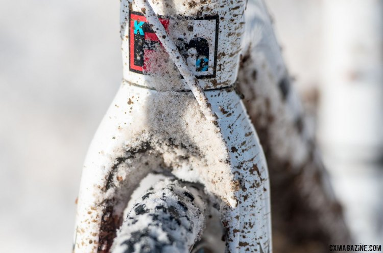 Being a multi-time Champion means that a custom head badge is just one of the nice aesthetic touches on your race rig. Even though the fork offers geneours tire clearance, without pitting, Compton used every mm of it. Katie Compton's 13th National Championships-Winning 2017 Trek Boone cyclocross bike. © Cyclocross Magazine