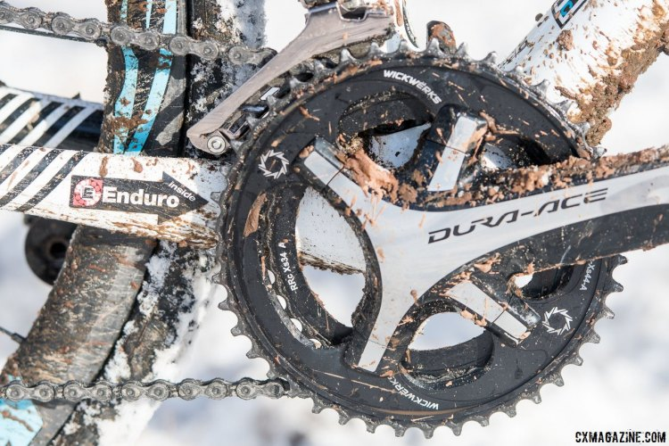 WickWerks is supplies Katie Compton's preferred smaller 34/44 double chainring set. Katie Compton's 13th National Championships-Winning 2017 Trek Boone cyclocross bike. © Cyclocross Magazine