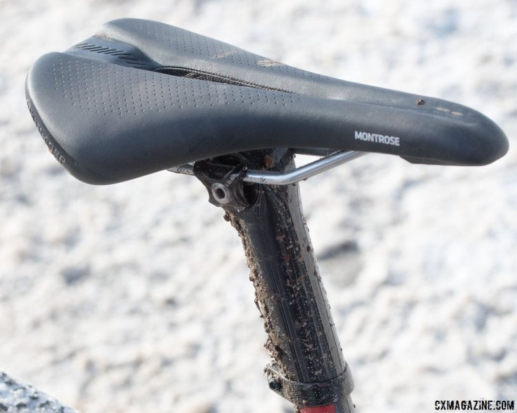 No carbon here - Compton opts for the Bontrager Montrose saddle with ti rails, not carbon. Katie Compton's 13th National Championships-Winning 2017 Trek Boone cyclocross bike. © Cyclocross Magazine