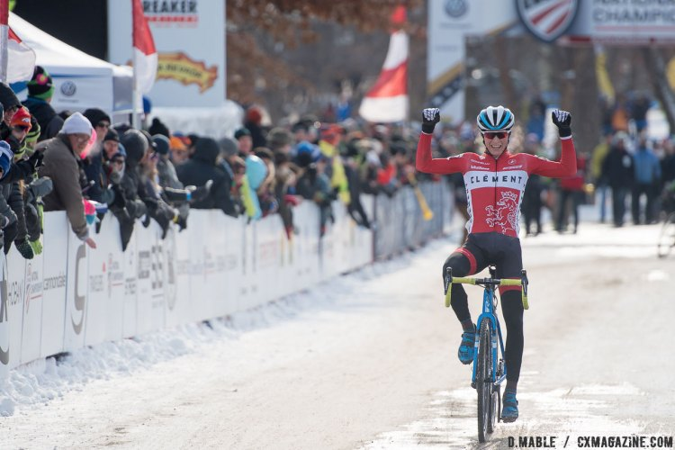 Lance Haidet wins. 2017 Cyclocross National Championships - U23 Men. © D. Mable / Cyclocross Magazine