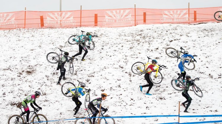 Some riders rode the low line, some ran up to the high line. 2017 Cyclocross National Championships, Masters Men 30-34. © A. Yee / Cyclocross Magazine