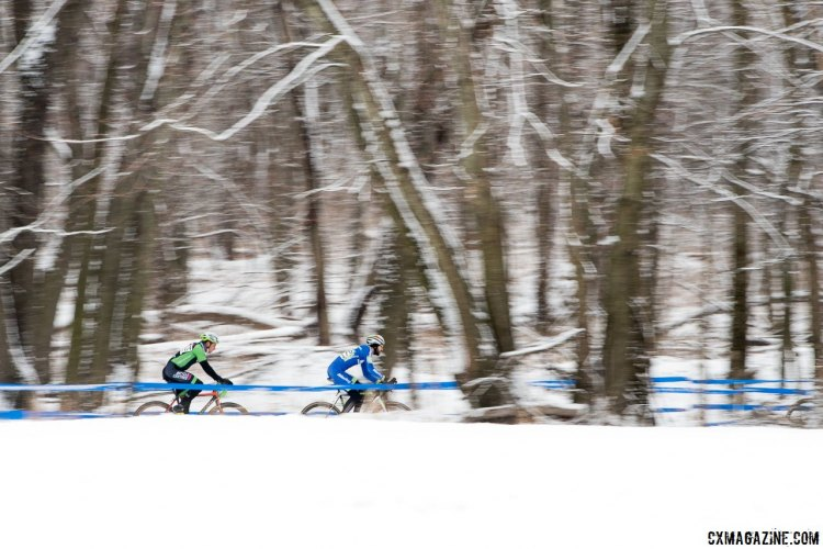 Conditions varied in Hartford, but if you raced there, coach Mayhew says a break from training is unconditionally mandatory. photo: Snowy conditions greeted racers to start today's racing. 2017 Cyclocross National Championships, Masters Men 30-34. © A. Yee / Cyclocross Magazine