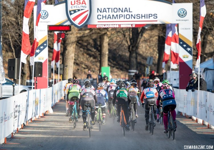 Start of the 2017 Cyclocross National Championships, Masters Women 35-39 race. © A. Yee / Cyclocross Magazine