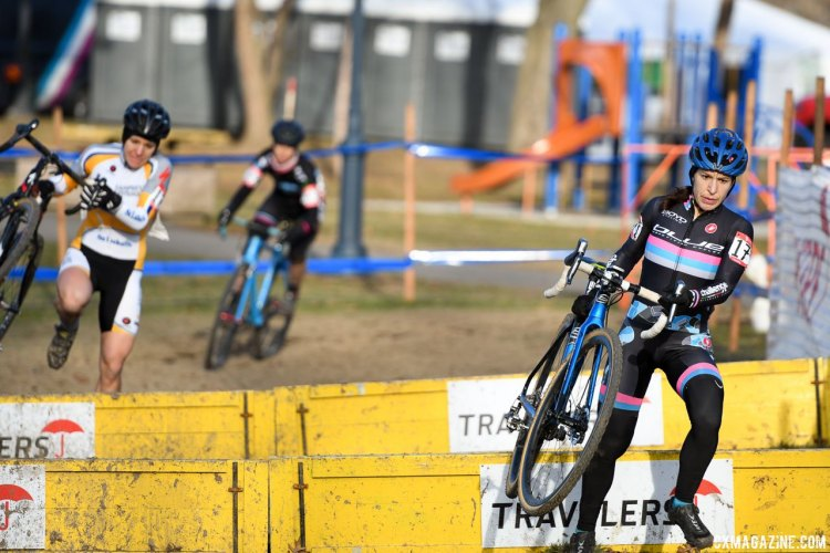 Over the barriers at the 2017 Cyclocross National Championships, Masters Women 35-39 race. © A. Yee / Cyclocross Magazine