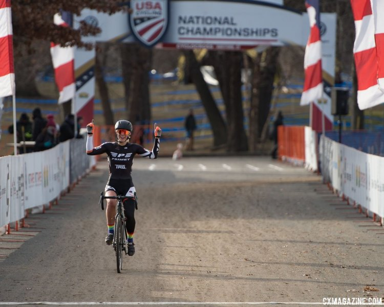 Sydney Guagliardo puts her hands in the air for the win. 2017 Cyclocross National Championships, Masters Women 35-39. © A. Yee / Cyclocross Magazine