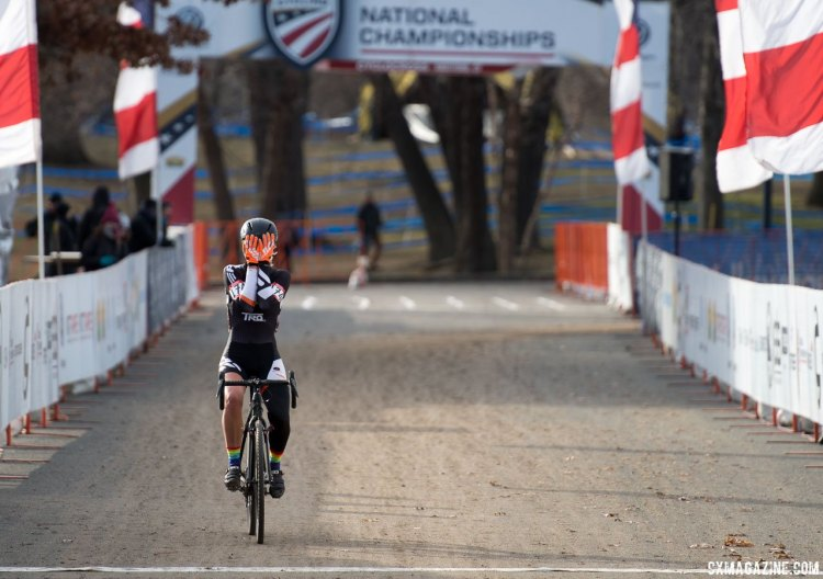 The thrill of winning a National Title sets in for Sydney Guagliardo. 2017 Cyclocross National Championships, Masters Women 35-39. © A. Yee / Cyclocross Magazine