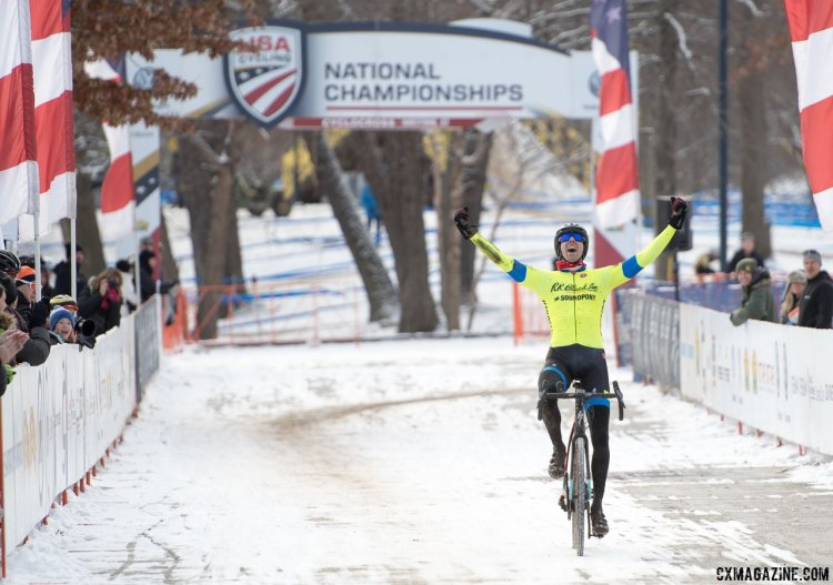 Chris Drummond (SPCX p/b R.K. BLACK) takes the win for the Masters Men 35-39 National Title. © A. Yee / Cyclocross Magazine