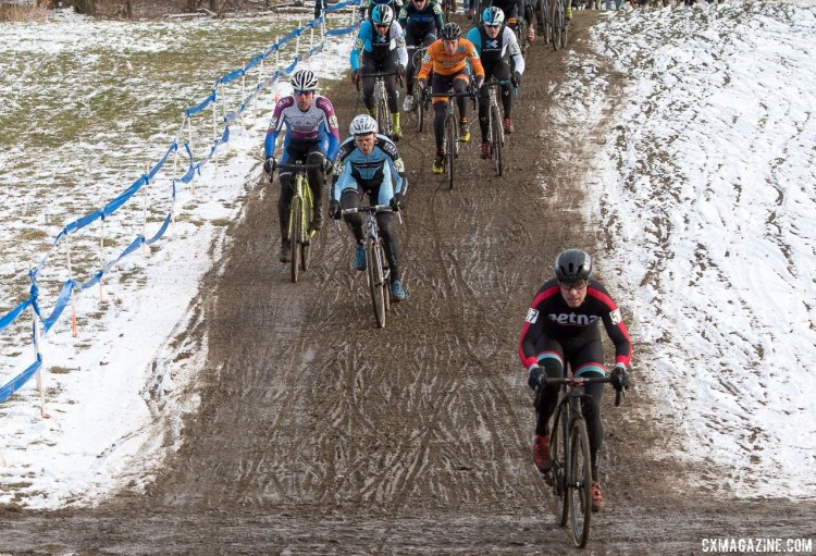 Hildebrand leads the group up the run-up on lap one. 2017 Cyclocross National Championships, Masters Men 45-49. © A. Yee / Cyclocross Magazine
