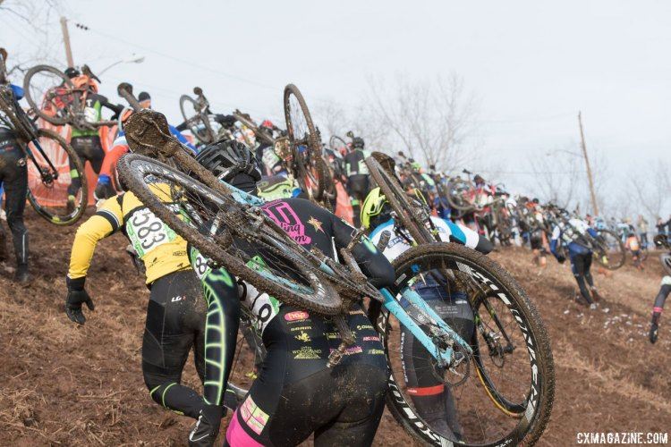 The Masters 45-49 race was a crowded affair, with 114 starters. 2017 Cyclocross National Championships, Masters Men 45-49. © A. Yee / Cyclocross Magazine