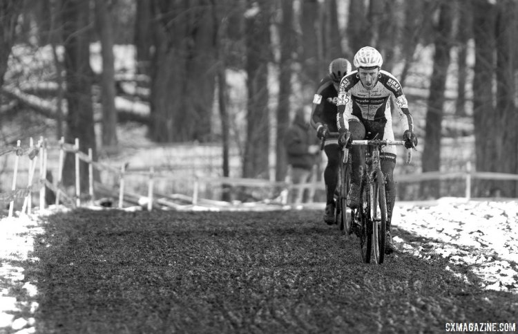 Adam Myerson leads David Hildebrand, lap two. 2017 Cyclocross National Championships, Masters Men 45-49. © A. Yee / Cyclocross Magazine