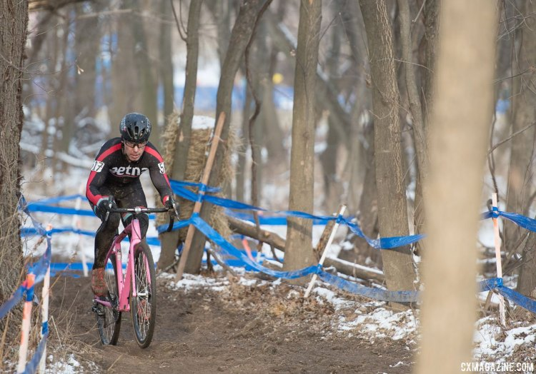 David Hildebrand grabbed the lead up the first run-up and held on for fourth on his hometown course. 2017 Cyclocross National Championships, Masters Men 45-49. © A. Yee / Cyclocross Magazine