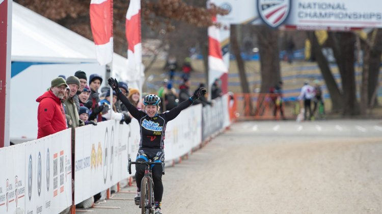 The ageless Laura Van Gilder wins her first Masters National Championship in cyclocross. 2017 Cyclocross National Championships, Masters Women 50-54. © A. Yee / Cyclocross Magazine