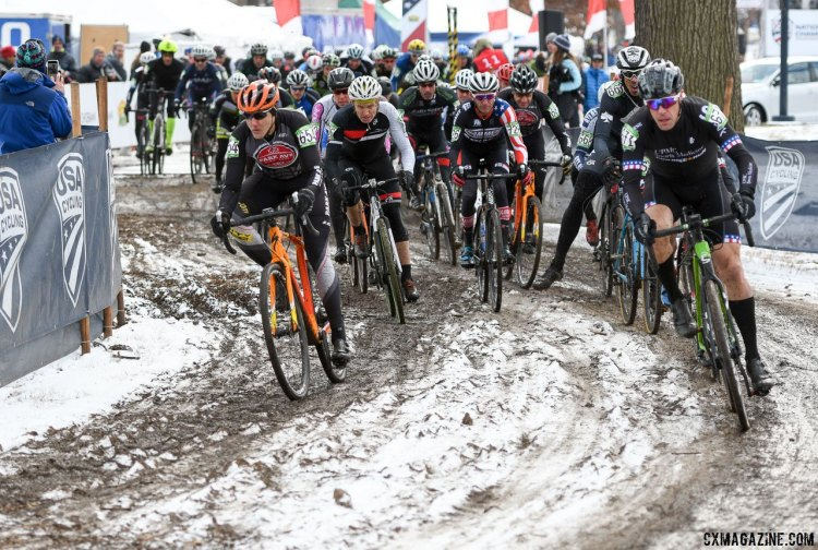 The race for the first turn. 2017 Cyclocross National Championships, Masters Men 50-54. © A. Yee / Cyclocross Magazine