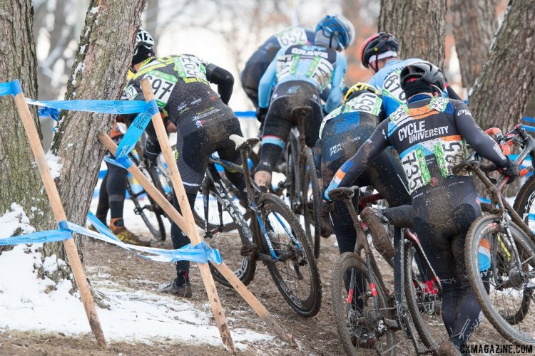 First lap chaos. 2017 Cyclocross National Championships, Masters Men 50-54. © A. Yee / Cyclocross Magazine