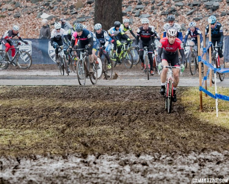 The first turn in a splash of reality. 2017 Cyclocross National Championships, Masters Men 60-64. © A. Yee / Cyclocross Magazine