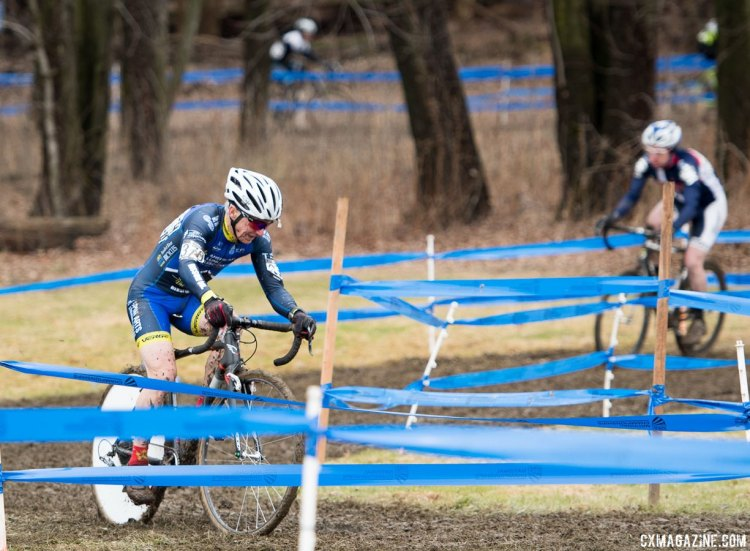 Paul Curley and his wheel cover moving up to third. 2017 Cyclocross National Championships, Masters Men 60-64. © A. Yee / Cyclocross Magazine