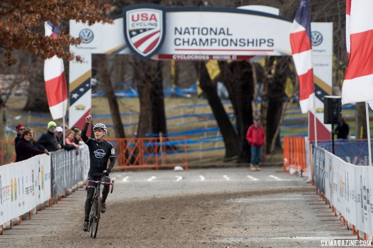Bob Downs takes his second National Title. 2017 Cyclocross National Championships, Masters Men 65-69. © A. Yee / Cyclocross Magazine