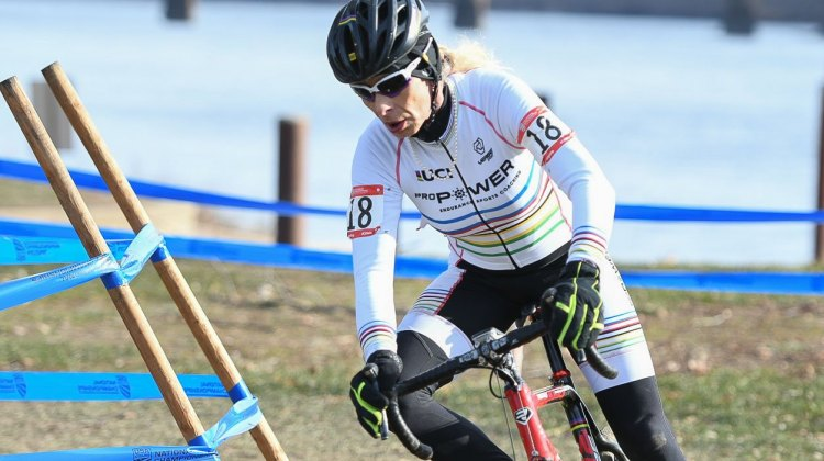 Christina Perkins had a dominant ride to win the 60+ title. 2017 Cyclocross National Championships, Masters Women 60+. © A. Yee / Cyclocross Magazine