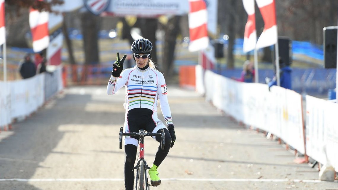 Christina Perkins, winner of Masters 60-64. 2017 Cyclocross National Championships. © A. Yee / Cyclocross Magazine