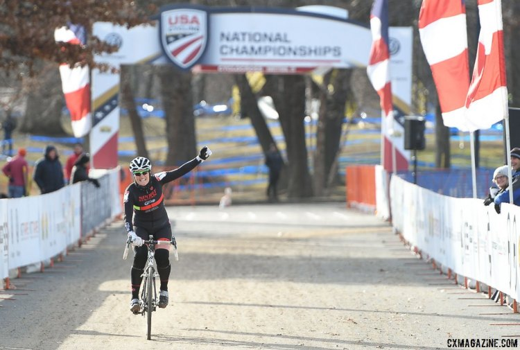 Tove Shere wins the 2017 Cyclocross National Championships, Masters Women 65-69. © A. Yee / Cyclocross Magazine