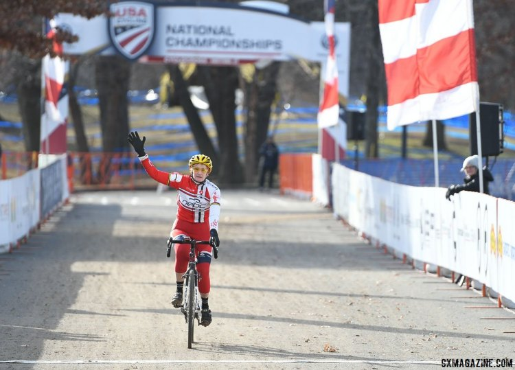 Julie Lockhart wins another Nationals title with her 2017 Cyclocross National Championships, Masters Women 75-79 win. © A. Yee / Cyclocross Magazine