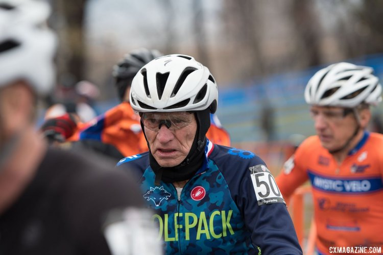 Fred Schmid readies for the 2017 Cyclocross National Championships race, Masters Men 70+. © A. Yee / Cyclocross Magazine