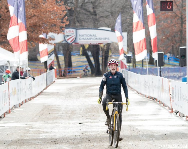 Abbott runs aways with the 70-74 race. 2017 Cyclocross National Championships, Masters Men 70+. © A. Yee / Cyclocross Magazine