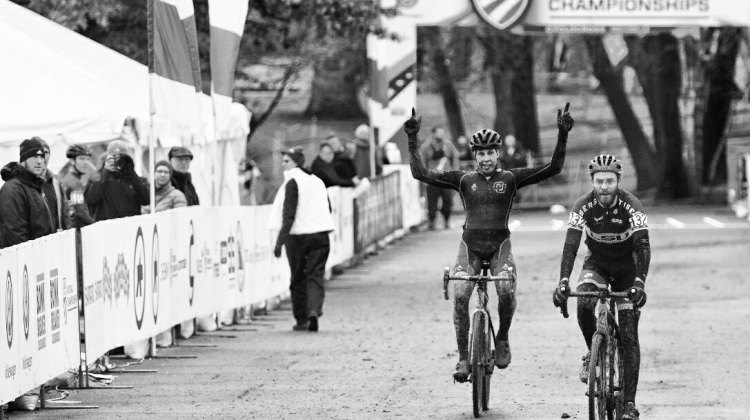 Maxx Chance (University of Colorado Boulder) takes the first title at the CX Nationals in Hartford in the Collegiate Men Club category. © Cyclocross Magazine