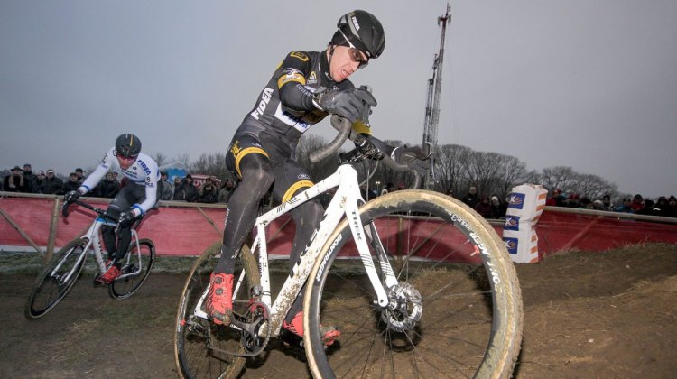 The two-man Telenet-Fidea Lions time trial blew apart but made a difference in the end. © C. Jobb / Cyclocross Magazine