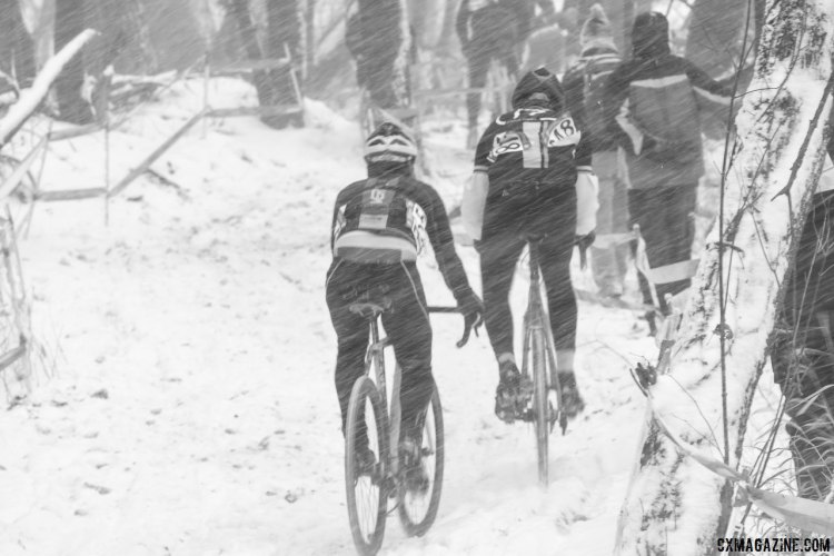 Snow was heavy and blowing sideways. 2017 Cyclocross National Championships, Singlespeed Men. © A. Yee / Cyclocross Magazine