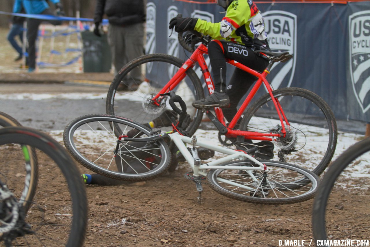 Small crash at the start of the race. 2017 Cyclocross National Championship Junior Men 11-12. © D. Mable / Cyclocross Magazine