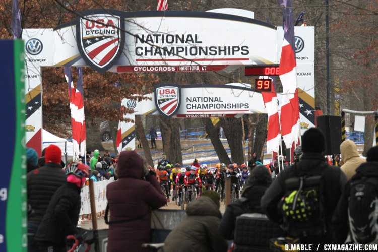 Just because they are Juniors doesn't mean they don't know how to draw a crowd. 2017 Cyclocross National Championships, Junior Women 11-12. © D. Mable / Cyclocross Magazine